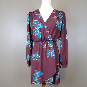 Altar'd State Long Sleeve Floral Tunic/Mini Dress